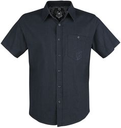 Dark Blue Short-Sleeve Shirt with Chest Pocket and Embroidery