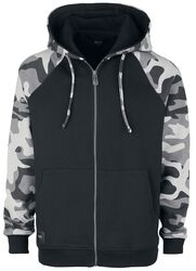 Black Hooded Jacket with Camoudlage Pattern