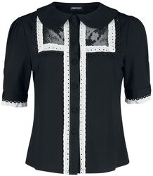 Lace And Trim Button Up Top