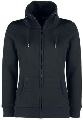 Black Sweatshirt Jacket with Standing Collar