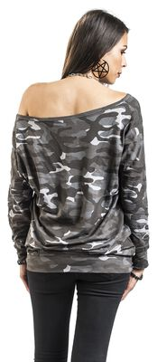 Dark Camo Long-Sleeve with Boat Neckline