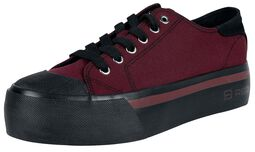 Dark Red Sneaker with Platform Sole