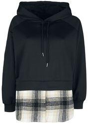 Pullover-hoodie met geruit onderhemd