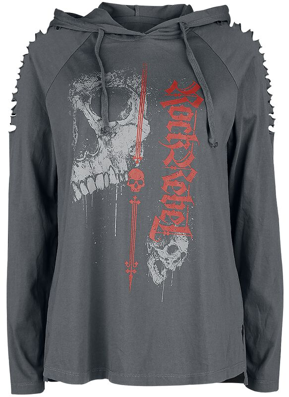 Grey Longsleeve with Hood and Cut-outs