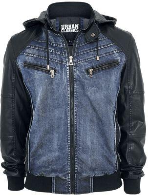 Hooded Denim Leatherlook Jacket