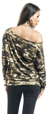 Camouflage Longsleeve with Boat Neckline