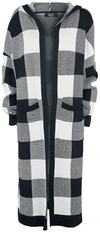 Black/white checkered cardigan with hood
