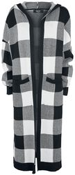 Black/white checkered cardigan with hood
