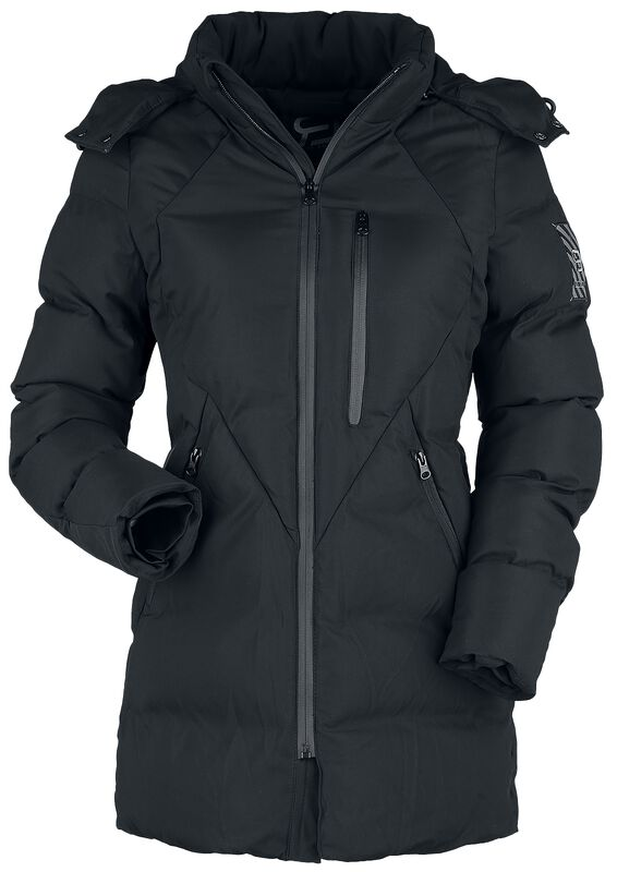 Black Winter Jacket with Quilting and Hood