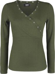 grünes Langarmshirt mit Ösen und V-Ausschnitt