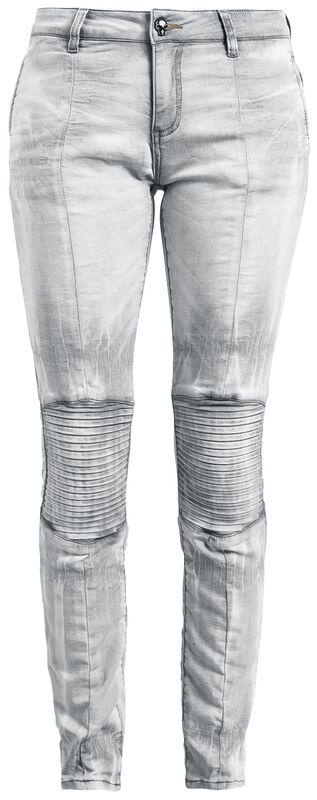 Light grey jeans with biker seams