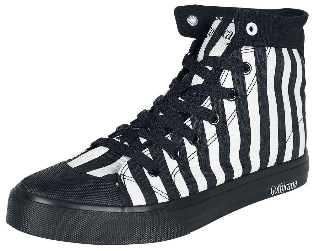 Black/White Striped Sneakers