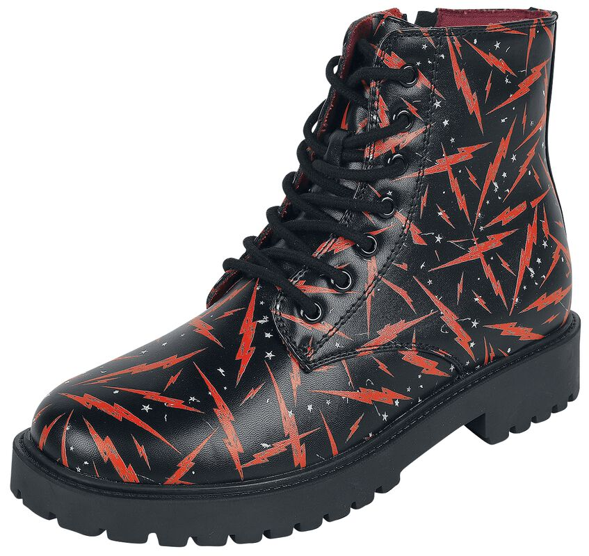 Black Lace-Up Boots with Lightning Print