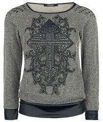 Rock Rebel Sweatshirt with Print and Studs