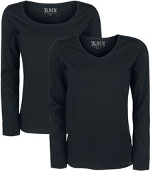 Black Long-Sleeve Tops with V-Neckline and Crew Neckline