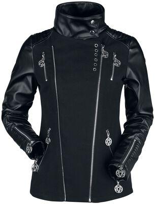 Black Gothic Biker-Style Jacket with Decorative Eyelets