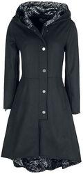 Gothicana X Anne Stokes - Zwarte jas met grote capuchon en vetersluiting