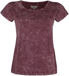 Bordeauxfarbenes T-Shirt mit Crinkle Waschung
