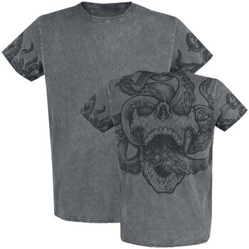 T-Shirt with Wash and Back Print