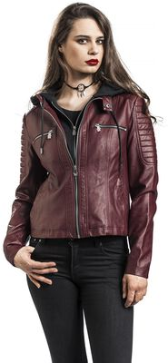 Red Faux Leather Jacket with Hood