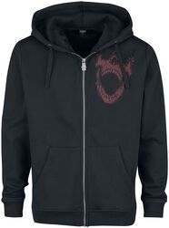 Black hooded zip with prints