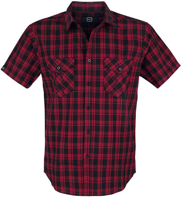 Schwarz/Rot kariertes Kurzarmhemd mit Brusttaschen