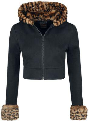 Jacket With Leopard-Print Fur Collar