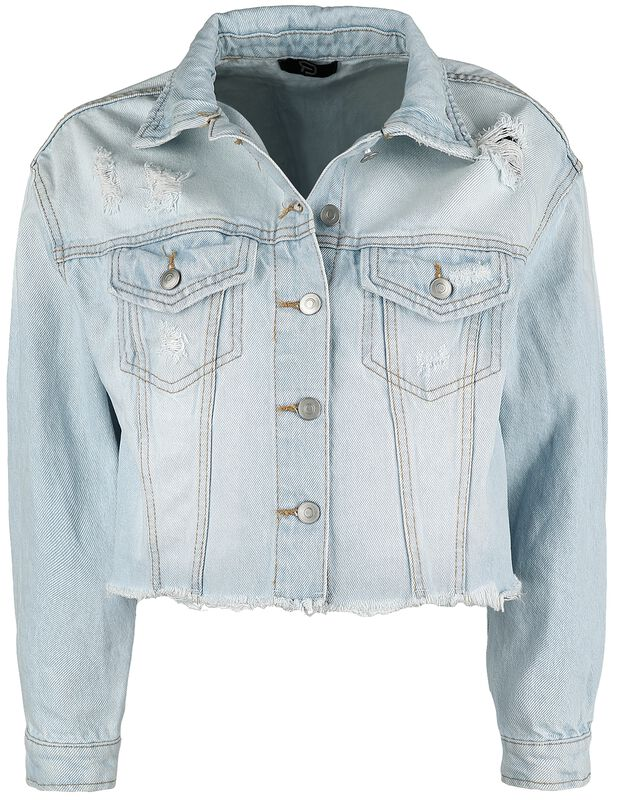 Light Blue Denim Jacket with Distressed Effects