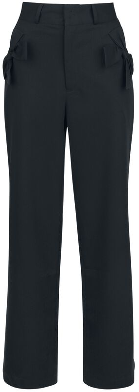 Patty Black Bow Pocket Solid Trousers