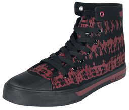 Red/Black Batik-Look Sneakers