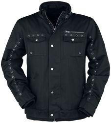Black Between-Seasons Jacket with Eyelets