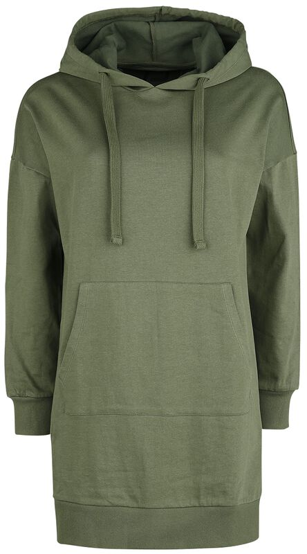 Long, Olive-Coloured Hooded Sweater