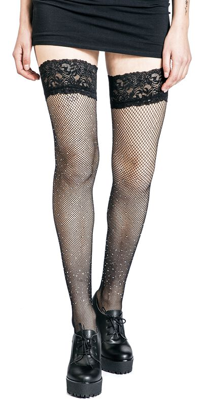 Fishnet Diamante Lace Top Hold Ups