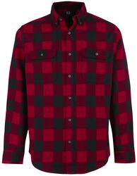 Black/Red Checked Long-Sleeve Shirt with Chest Pockets