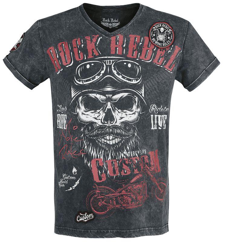 Black T-shirt with V-Neckline and Print