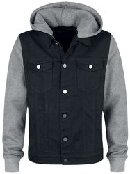 Sweat Sleeved Hooded Denim Vest