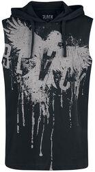 Schwarzes Tank Top mit Kapuze und Print