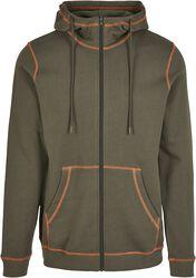Organic Contrast Flatlock Stitched Zip Hoodie