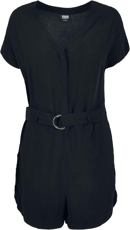 Ladies' Short Black Viscose Belt Jumpsuit