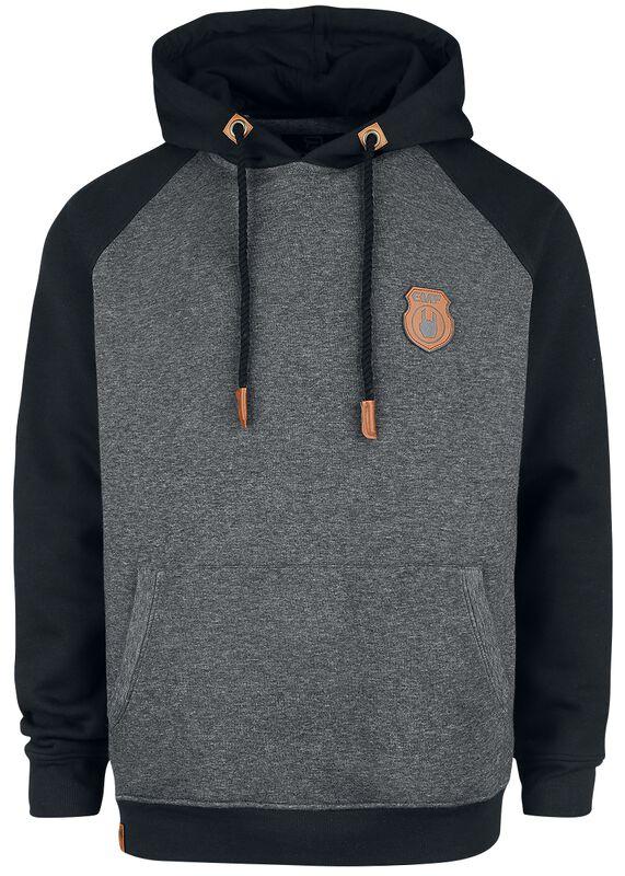 Grey/Black Hoodie with Raglan Sleeves
