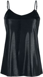 Faux-Leather-Look Black Top