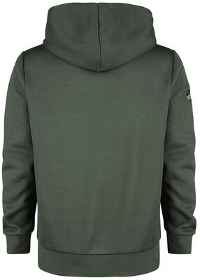 Olive coloured hooded zip with patch details