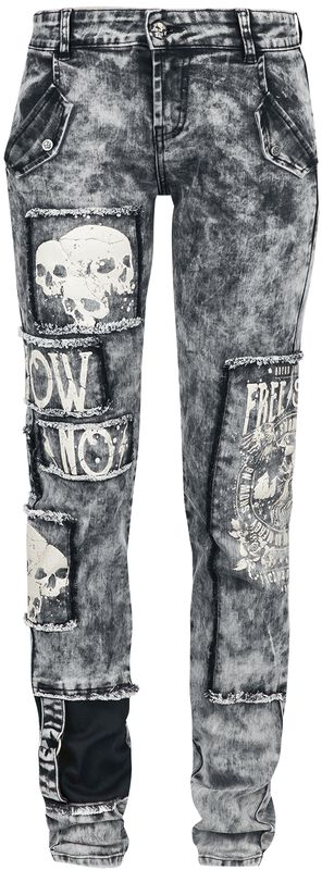 Skarlett - Grey Jeans with Intense Wash, Prints and Patches