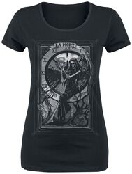 Black T-shirt with Print and Round Neckline