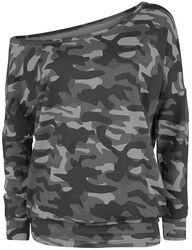 dunkles camouflage Longsleeve mit U-Boot-Ausschnitt