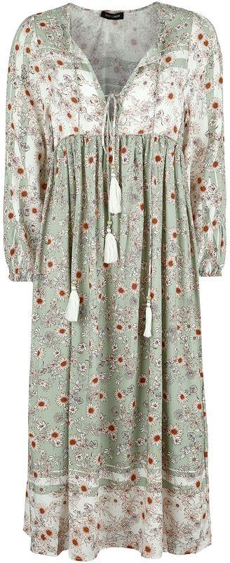 Floral Print Double Tie Front Midi Dress