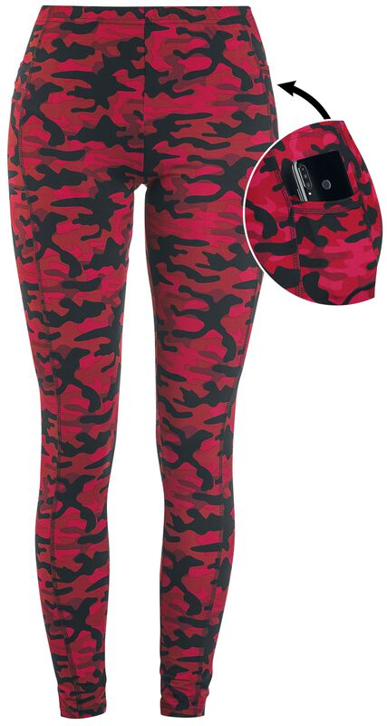 Red Camo Leggings with Side Pockets