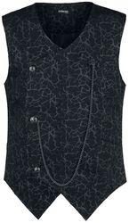 Black Vest with Chest Pocket and Lightning Pattern