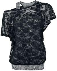 graues Top mit schwarzem Spitzen-Shirt