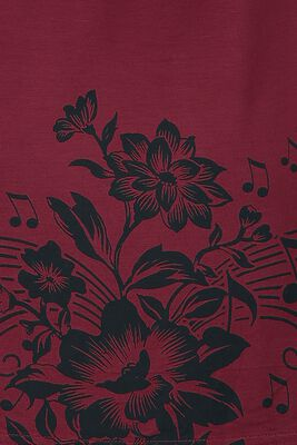 T-Shirt with Flowers and Notes Print